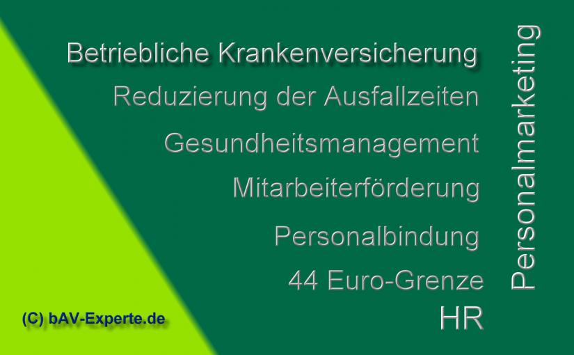 Betriebliche Krankenversicherung für Arbeitnehmer – Sachbezug jetzt im Rahmen der 44 Euro-Grenze möglich