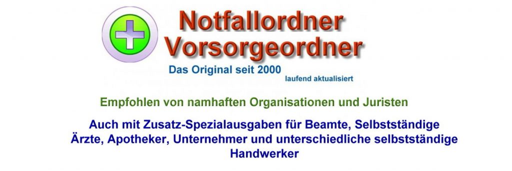 Notfallordner Vorsorgeordner Notfallmappe Vorsorgemappe Notfallplan Notfallkoffer -www.notfallordner-vorsorgeordner.de